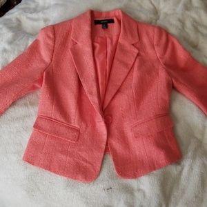 Coral cropped blazer